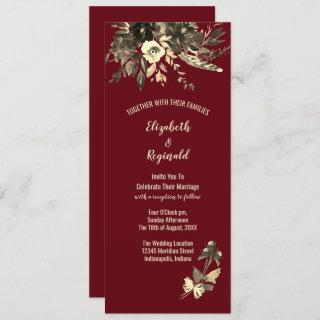 Autumn Burgundy Dried Floral in Watercolor Wedding Invitation