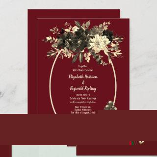 Autumn Burgundy Dried Floral Spray Wedding Invitations