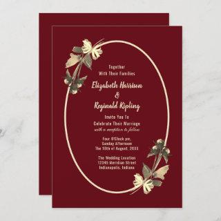 Autumn Burgundy Dried Flowers Wedding Invitation