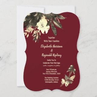 Autumn Burgundy Dried Watercolor Floral Wedding Invitations