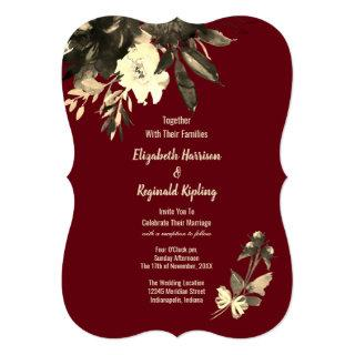 Autumn Burgundy Dried Watercolor Floral Wedding Invitation