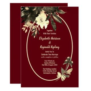 Autumn Burgundy Watercolor Aged Floral Wedding Invitations