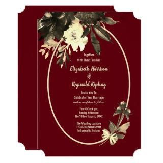 Autumn Burgundy Watercolor Aged Floral Wedding Invitation