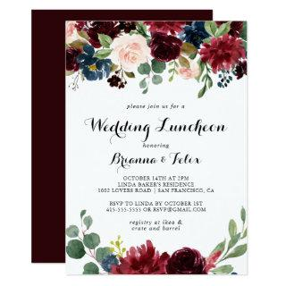 Autumn Calligraphy Wedding Luncheon Bridal Shower Invitations