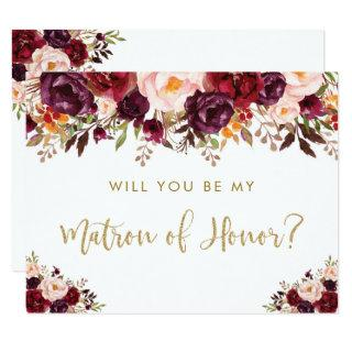 Autumn Fall Floral Will You Be My Matron of Honor Invitation