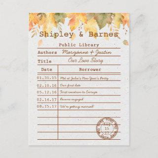 Autumn Fall Leaves Library Card Save The Date