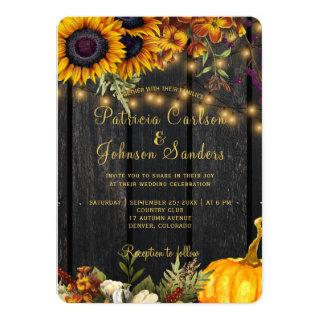 Autumn fall rustic barn wood harvest wedding Invitations