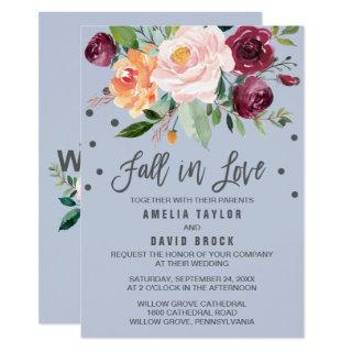 Autumn Floral Dusty Blue Fall In Love Wedding Invitations