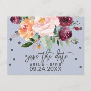 Autumn Floral Dusty Blue Save the Date Announcement Postcard