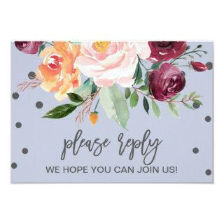 Autumn Floral Dusty Blue Song Request RSVP Card