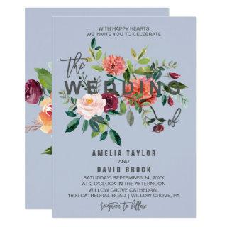 Autumn Floral Dusty Blue Typography Wedding Invitation