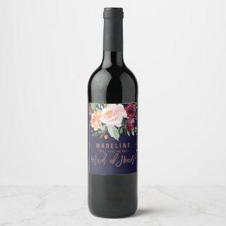 Autumn Floral Rose Gold Maid of Honor Wine Label