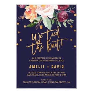 Autumn Floral We Tied The Knot Elopement Reception Invitation