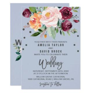 Autumn Floral with Typography Backing Wedding Invitations