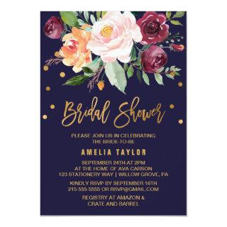 Autumn Floral with Wreath Backing Bridal Shower Invitations