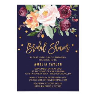 Autumn Floral with Wreath Backing Bridal Shower Invitation