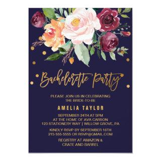 Autumn Floral | Wreath Backing Bachelorette Party Invitations