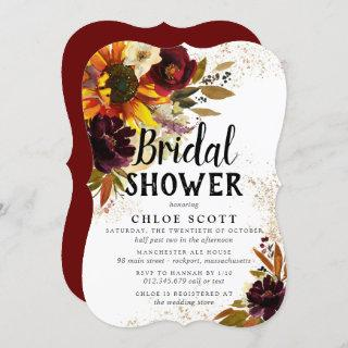 Autumn Flowers and Gold Bridal Shower Invitation