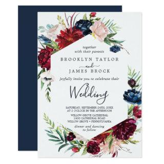 Autumn Garden | Burgundy All In One Wedding Invitations