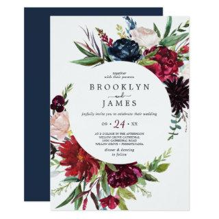 Autumn Garden | Burgundy Casual Wedding Invitations
