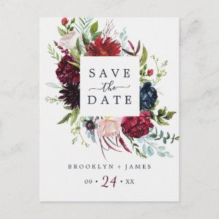 Autumn Garden | Burgundy Save the Date Postcard