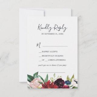 Autumn Garden | Burgundy Song Request RSVP Card