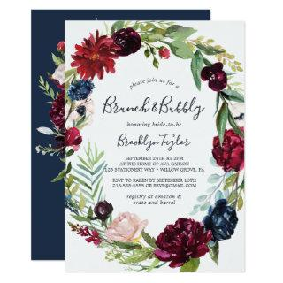 Autumn Garden | Burgundy Wreath Brunch and Bubbly Invitations