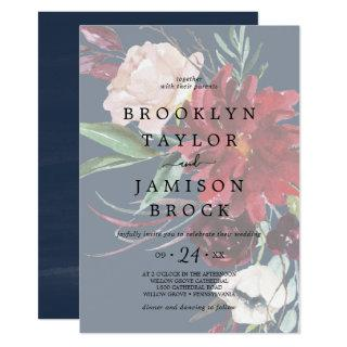 Autumn Garden | Navy Faded Floral Wedding Invitations