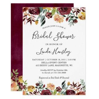 Autumn Garden Red Orange Floral Fall Bridal Shower Invitations
