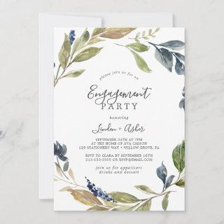 Autumn Greenery Engagement Party Invitations