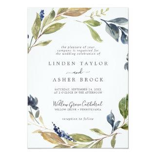 Autumn Greenery Formal Wedding Invitation