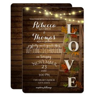 Autumn Ladder and Leaves Love Wedding Invitations