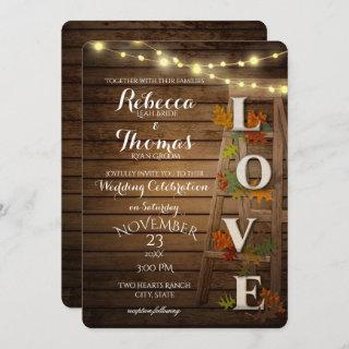 Autumn Ladder and Leaves Love Wedding