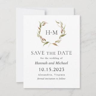 Autumn Laurel Wreath Save the Date with Photo