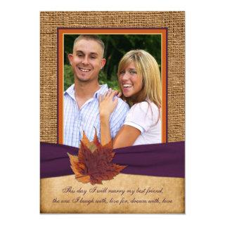 Autumn Leaves, FAUX Burlap PHOTO Wedding Invite