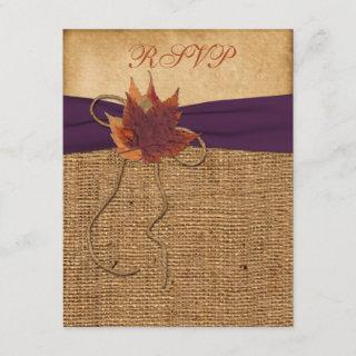 Autumn Leaves, FAUX Burlap RSVP Card