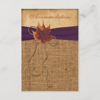 Autumn Leaves, FAUX Burlap Wedding Enclosure Card