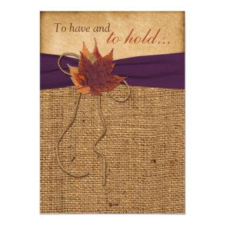 Autumn Leaves, FAUX Burlap Wedding Invitation