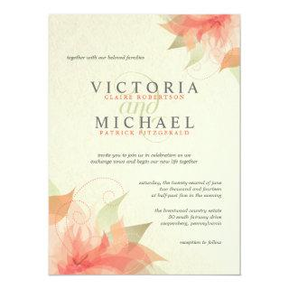 Autumn Orange & Ecru Floral Wedding Invitations