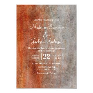 Autumn Orange Gray Watercolor Wedding Invitation
