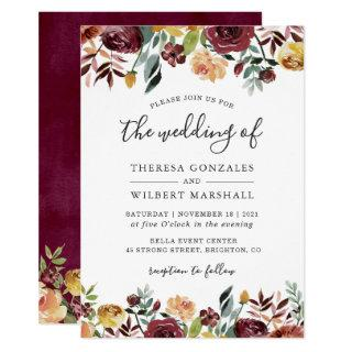 Autumn Red Orange Botanical Floral Fall Wedding Invitations