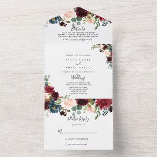Autumn Rustic Burgundy Calligraphy Wedding  All In One
