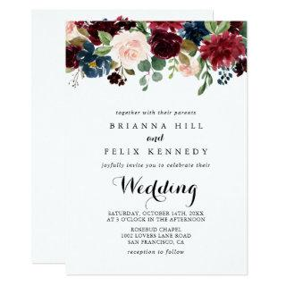 Autumn Rustic Burgundy Floral Front & Back Wedding Invitation