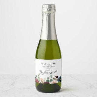 Autumn Rustic Calligraphy Bridesmaid Proposal Champagne Label