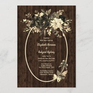 Autumn Rustic Dried Floral Spray Wedding Invitations