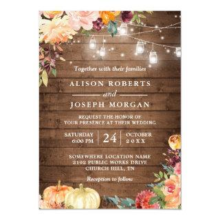 Autumn Rustic Floral Pumpkin String Lights Wedding Invitation
