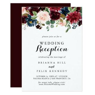 Autumn Rustic Modern Calligraphy Wedding Reception Invitations