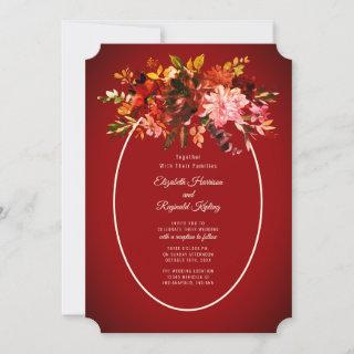 Autumn Splendor Dried Floral Red Wedding Invitation