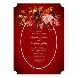 Autumn Splendor Dried Floral Red Wedding Invitations