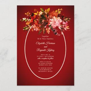 Autumn Splendor Floral Deep Red Wedding Invitation
